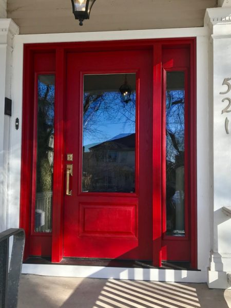 521-Raglan-Entrance-Swinging-Door-Custom-Red-w-Sidelites